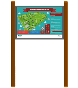 An image of Fantasy Park disc golf map wood signage