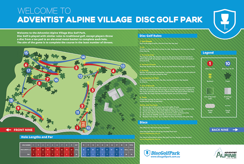 Recreation Activity Design Adventist Alpine Village Disc Golf Park Jindabyne NSW