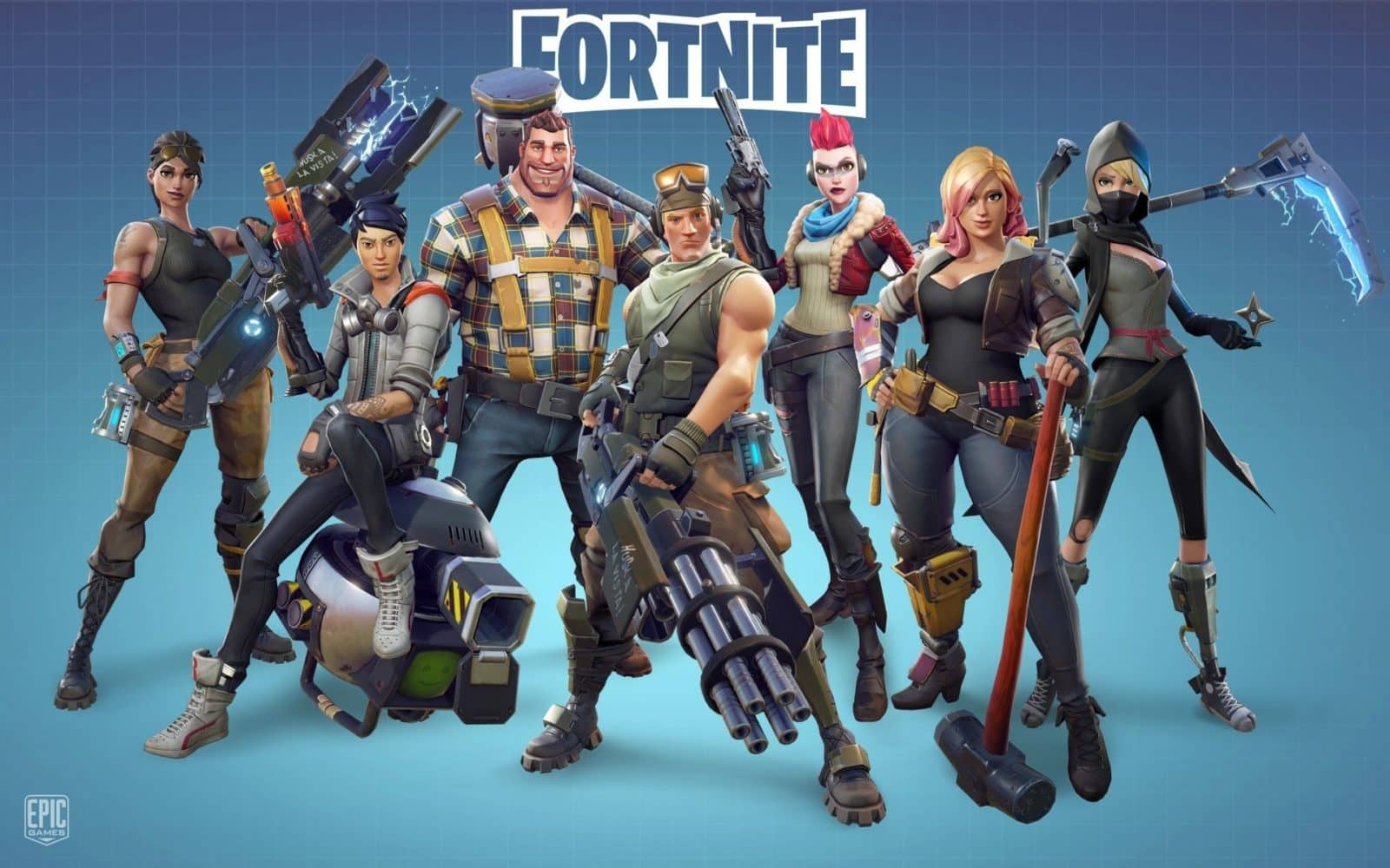 An image showing the characters of fortnite with heavy equipment guns
