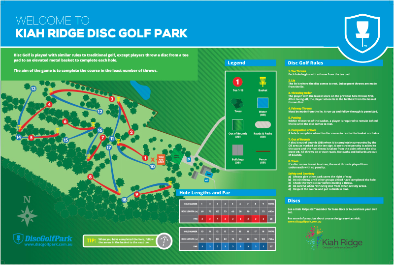 An image ofRecreation Activity Design Kiah Ridge Disc Golf Course