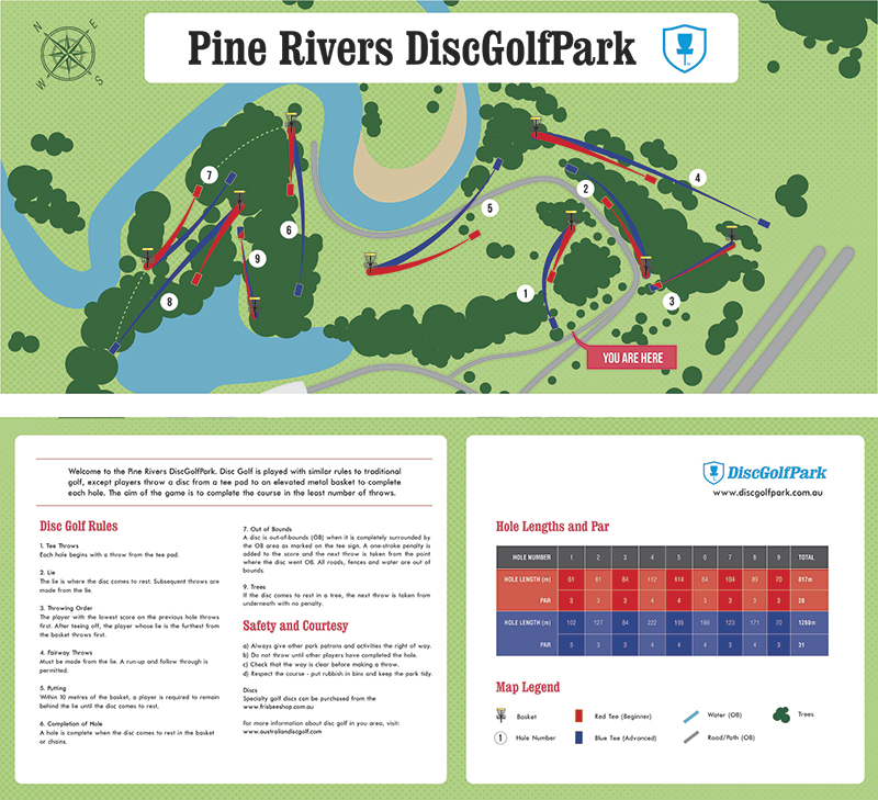 Recreation Activity Design Licola Wilderness Village Pine River Disc Golf Park