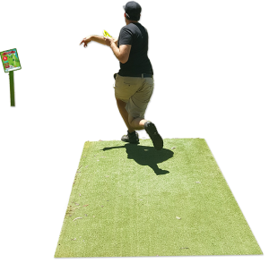 an image of a man in a astro turf tee pad