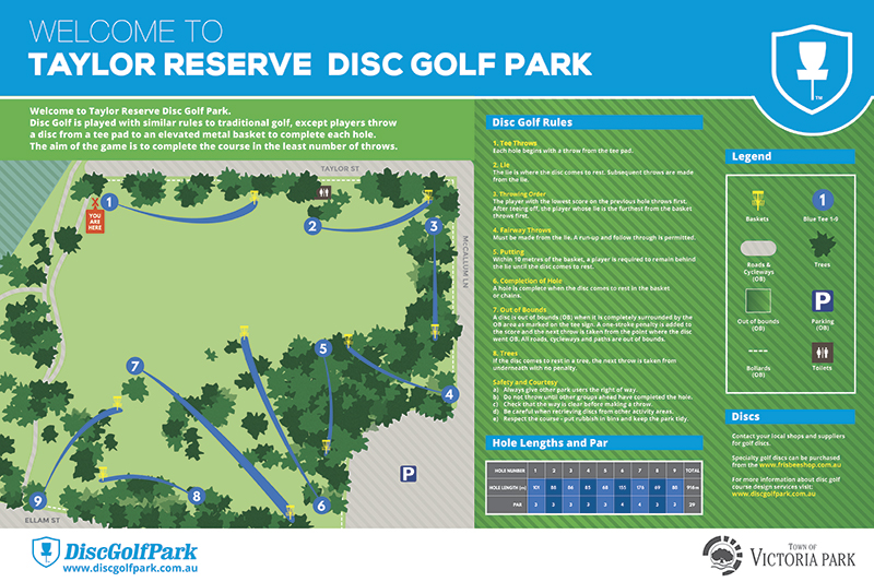 Recreation Activity Design Taylor Reserve Disc golf Park Victoria Park