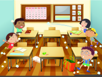 An image showing kids in a classroom playing paperball