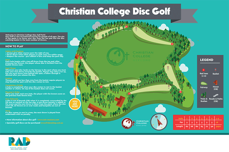 An image showing a map of christian college disc golf park