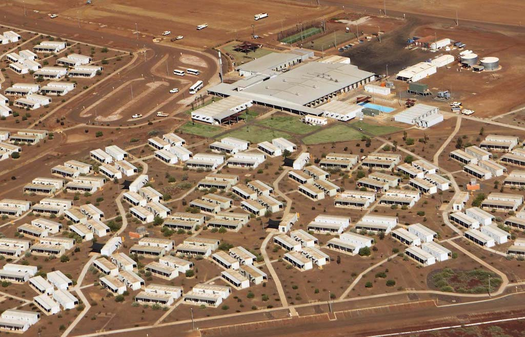 File photo of aerial view of Citic Pacific iron ore mine workers camp in Karratha, Western Australia