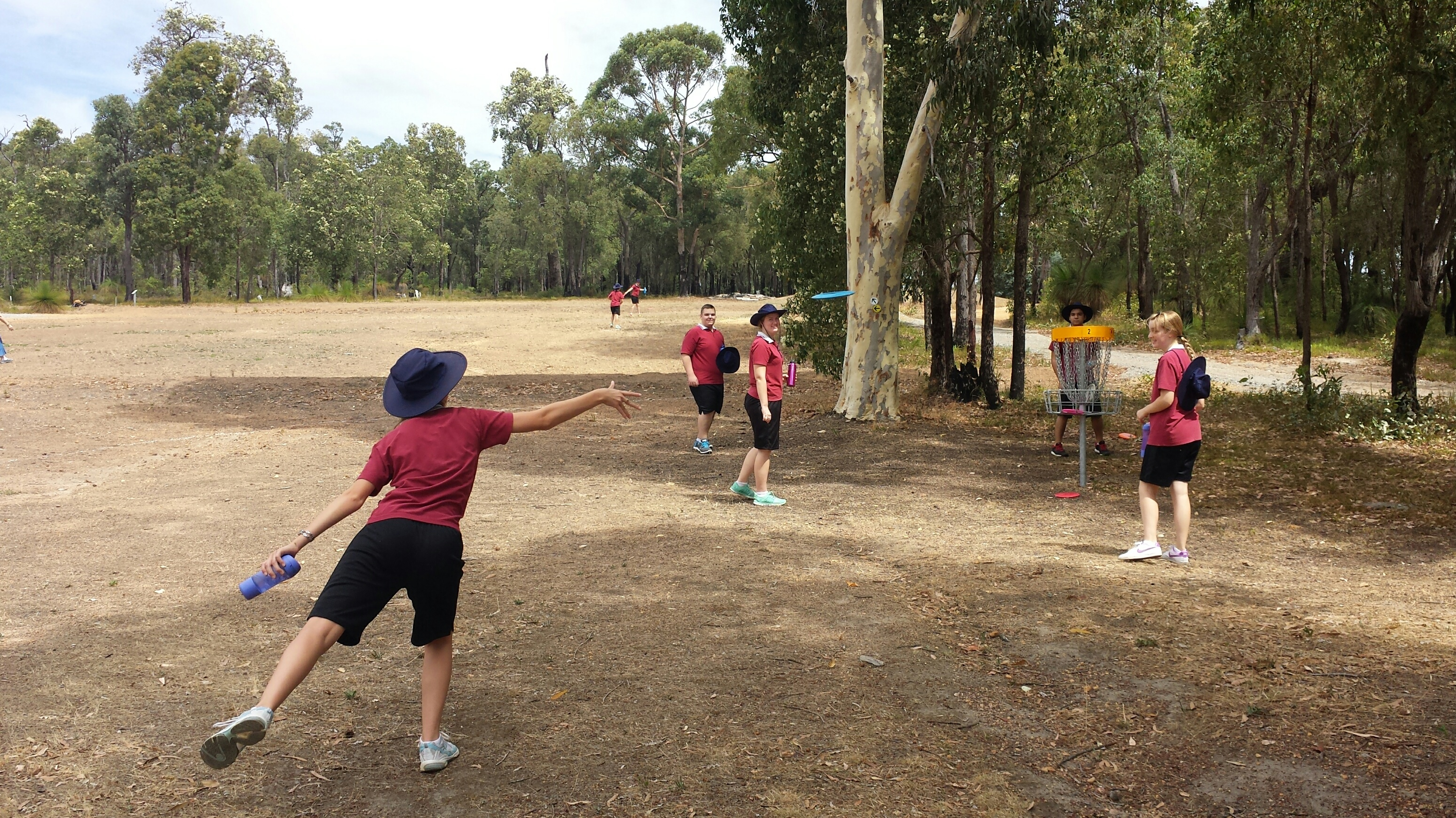 An image of playing disc golf in disc golf park