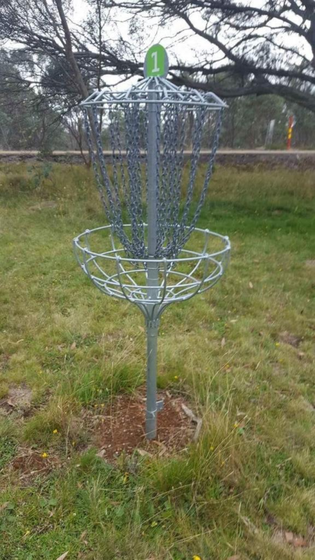 picture of a disc golf basket