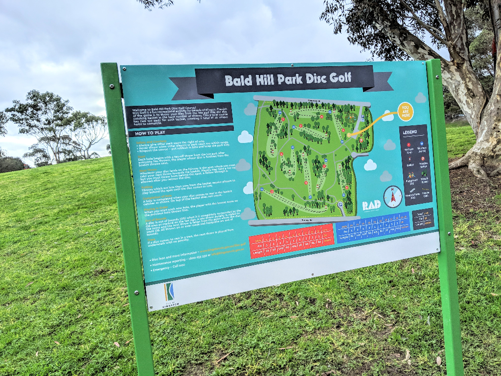 an image of map design of Bald Hill Park Disc Golf Course
