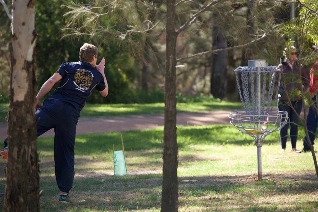 an image of a man playing disc golf in a park