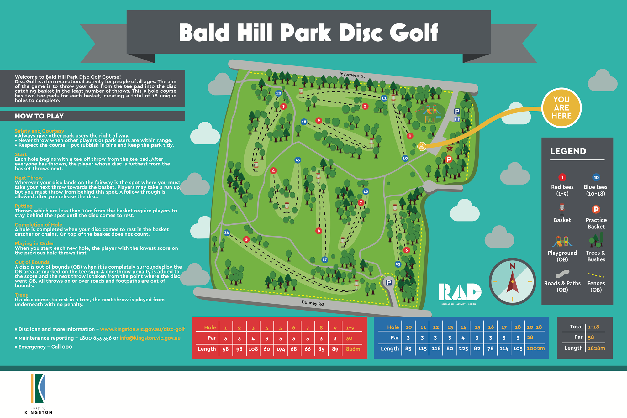 image of Bald Hill Park Disc Golf map