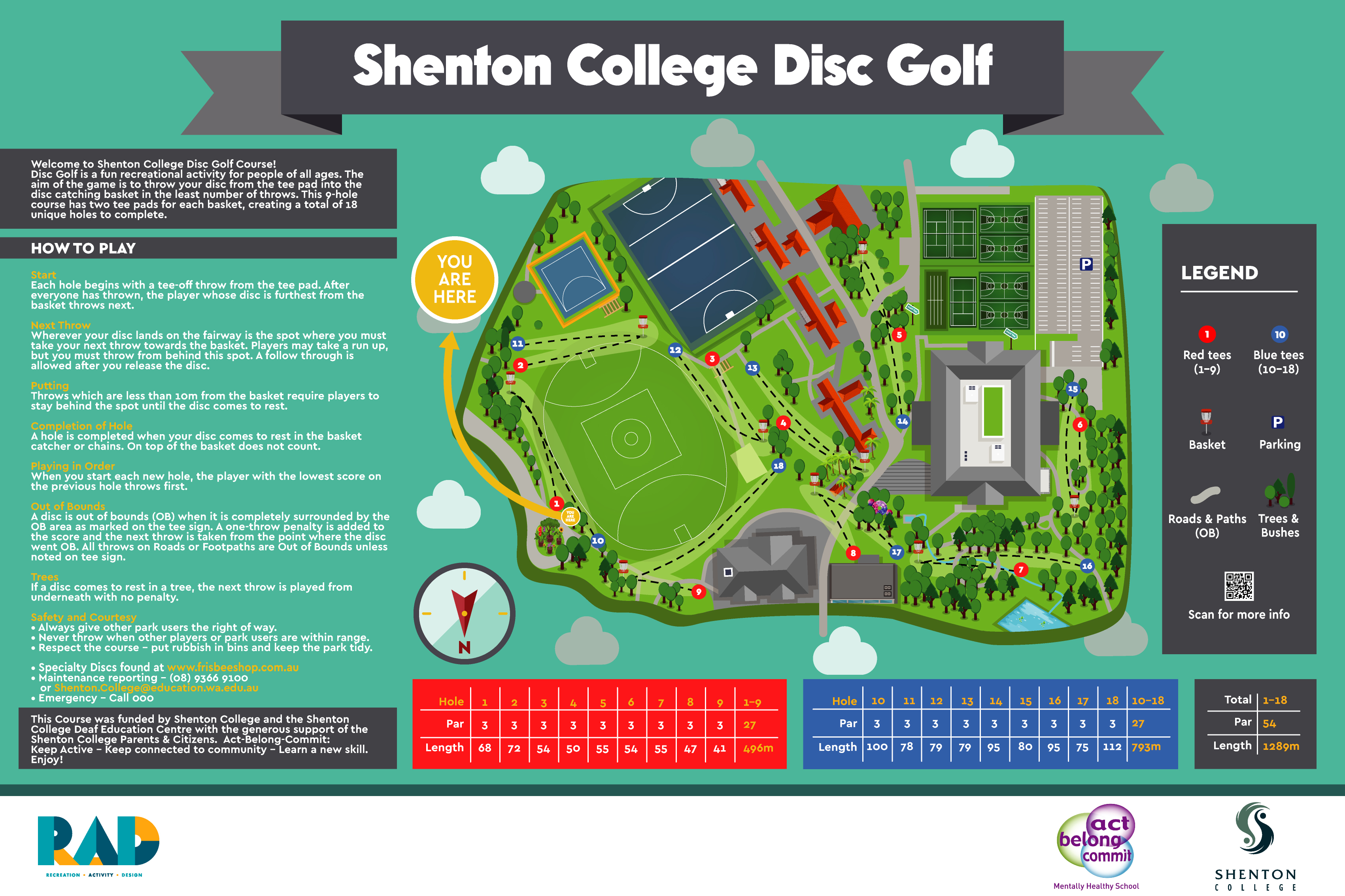 image of Shenton College Disc Golf map